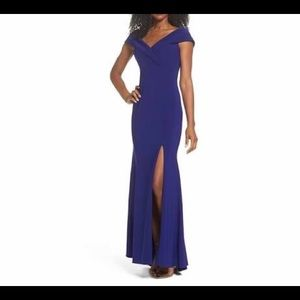NEW XScape Off The Shoulder Slit Gown Size 2